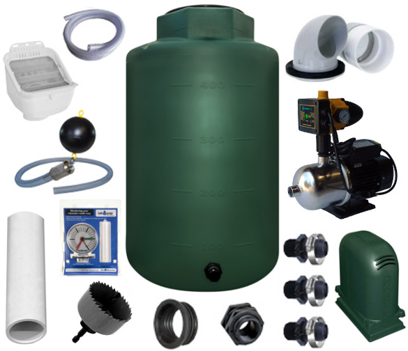 Rotoplas 500 Gallon Complete Above Ground Rainwater Collection System