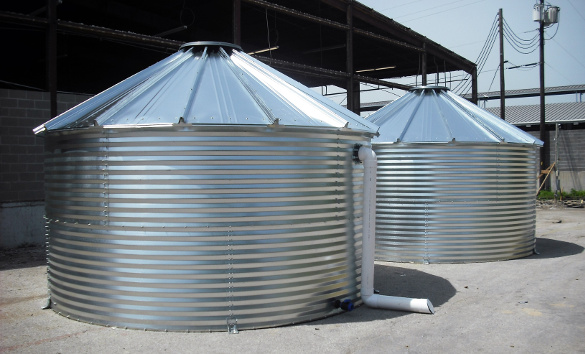 Dual Corrugated Steel Rainwater Tanks with Overflow