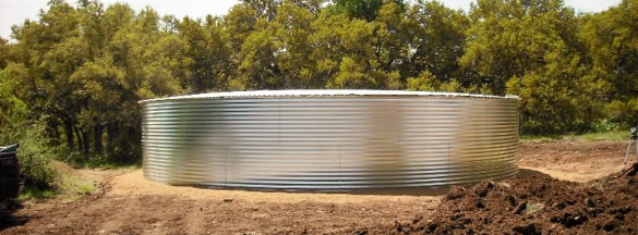 Short and Wide Corrugated Steel Rainwater Tank