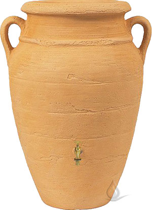Amphora Rainwater Tank with Planter, Sandstone - 160 Gallons