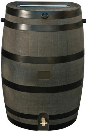 Flat Back Woodgrain Rain Barrel - 50 Gallons