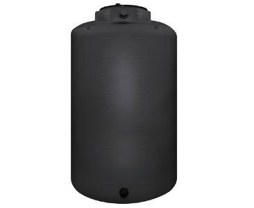 1300 Gallon Rotoplas Vertical 1.9 SG Industrial Tank - Black